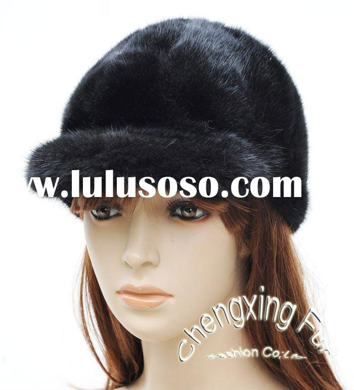 CX-C-28C Genuine Mink Fur Hat - Black