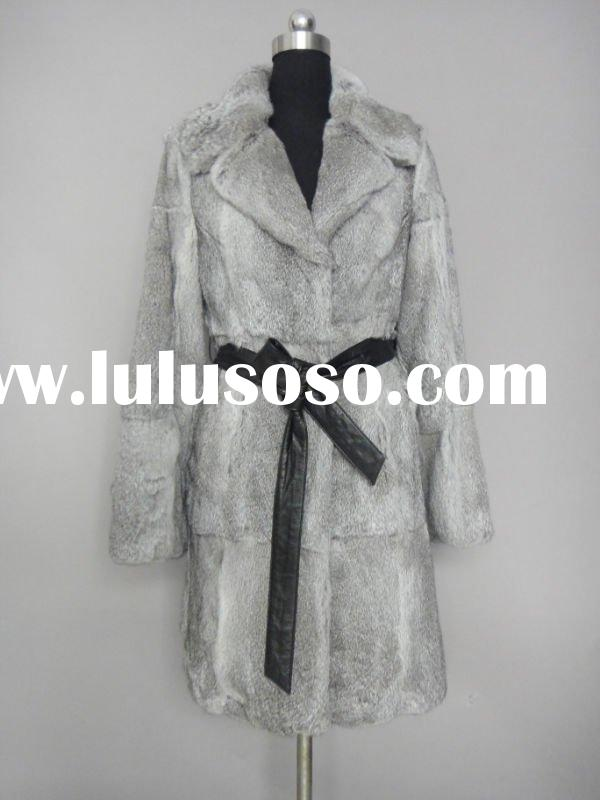 Chinchilla Rabbit Fur Coat With Lamb Belt HOT STYLE IN 2011/2012 (Style:#B332)