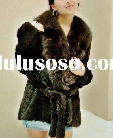 Chinchilla Rabbit fur coat with fox collar