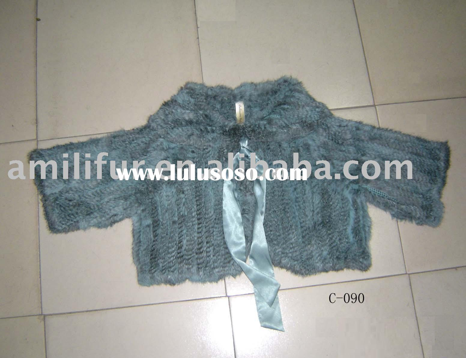 Chinchilla rabbit fur of knitted coat