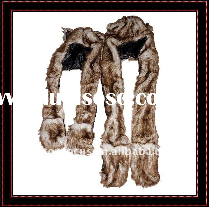 FAUX FUR ANIMAL HAT WITH LONG SCARF BOTH FOR ADULTS AND KIDS