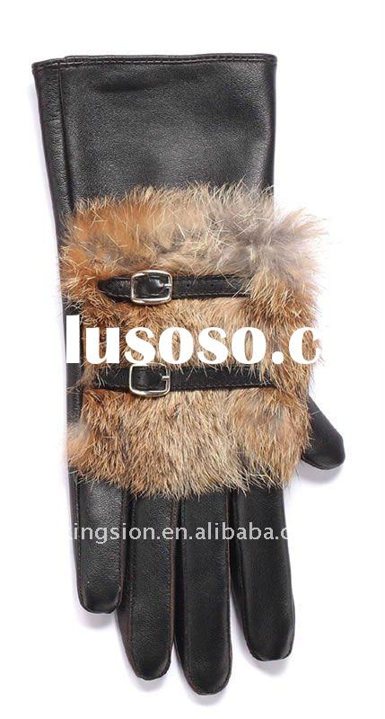 Fashion rabbit fur bulb gloves for women