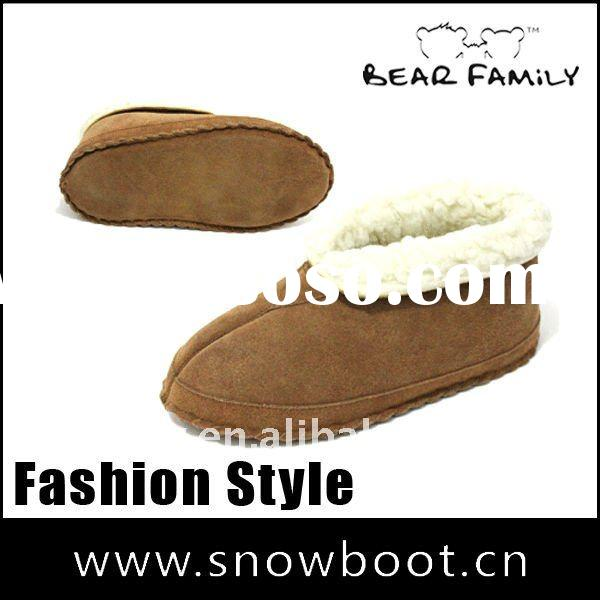 Fashion snow boots fake fur camel color leather men's ankle boot