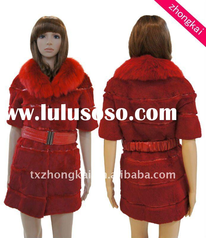 Fox Fur Collar Rex Rabbit Fur Coats