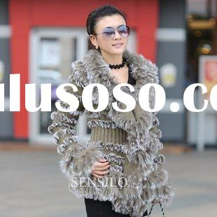 Genuine High quality Fashion Rabbit fur coat S3068