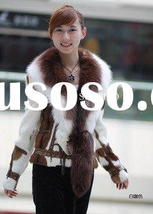 Genunie Fashion Silver Fox with Fox Fur Collar Coat S8001
