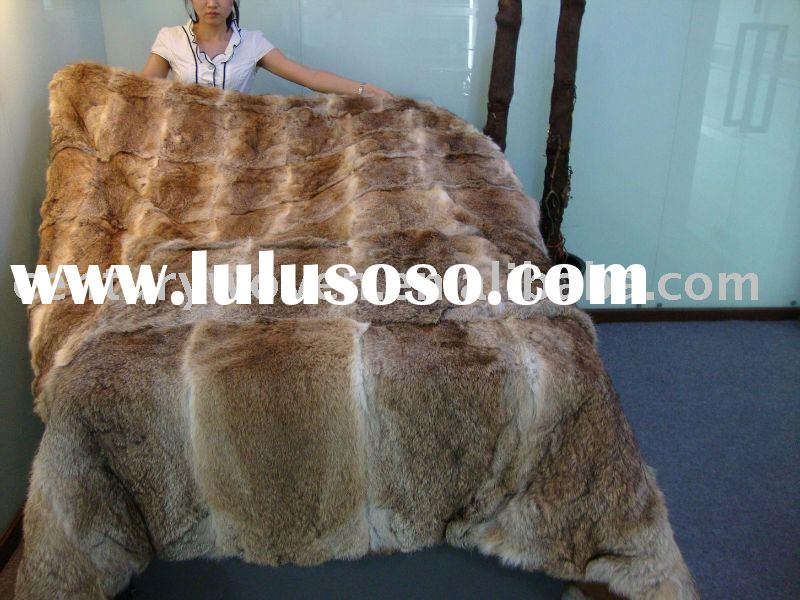 HOT! real natural brown rabbit fur blanket (rabbit fur throw)