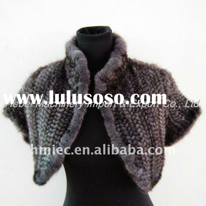 Hand Made Genuine Mink Fur Knitted Princess Cape Stole Bolero Cappa Capelet Tipplet Wraps Mantle