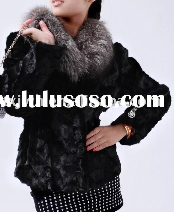 Ladies' fashion mink fur coat with silver fox fur collar
