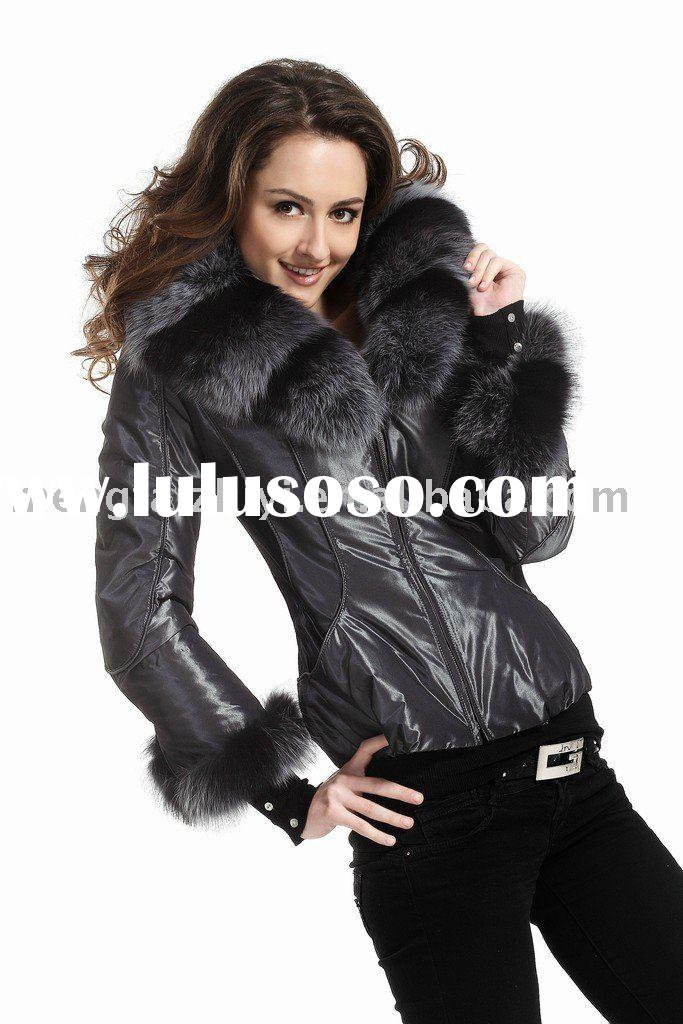 Ladies winter jacket with silver fox collar and fur lining