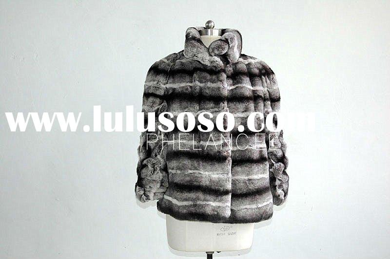 Long Sleeves Chinchilla Color Rex Rabbit Skin Fur Jacket