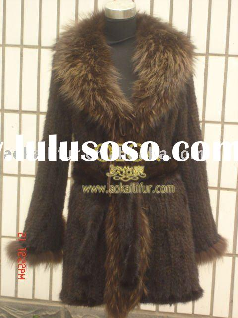MINK KNITTED FUR JACKET FUR COAT WITH FUR COLLAR 60111. HOT SELLING KNIT MINK FUR COAT IN WHOLESALE