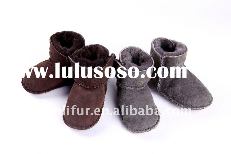 New baby girls winter black brown beige fur boots shoes size 4