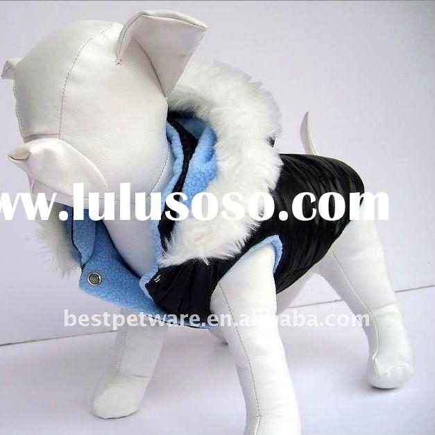Nylon Dog Coat with rabbit fur hat, available in blue, black and white