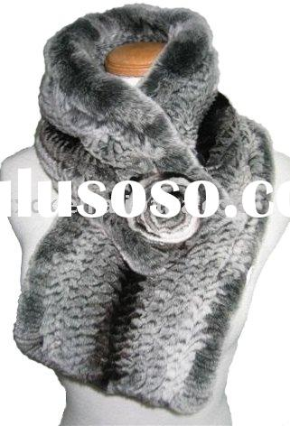 Rex Fur Chinchilla Printed Scarf