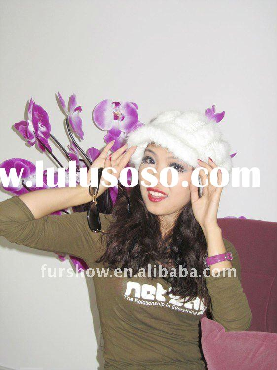 manufacture/product/supply italy made knitted rabbit fur hat in white colour