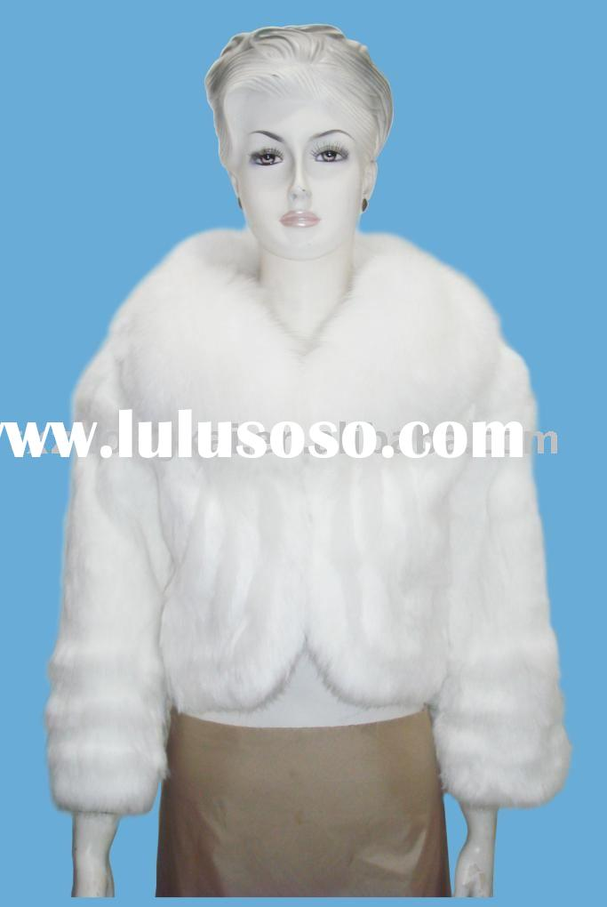 rabbit fur coat with white fox fur collar