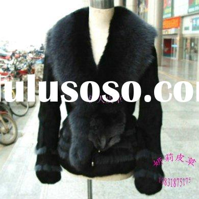 rabbit fur&genuine black fox collar and black rabbit fur coat