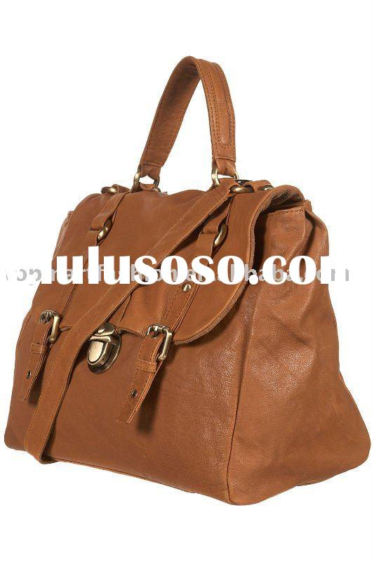 2011 New fashion ! Large Leather Pushlock Satchel handbag