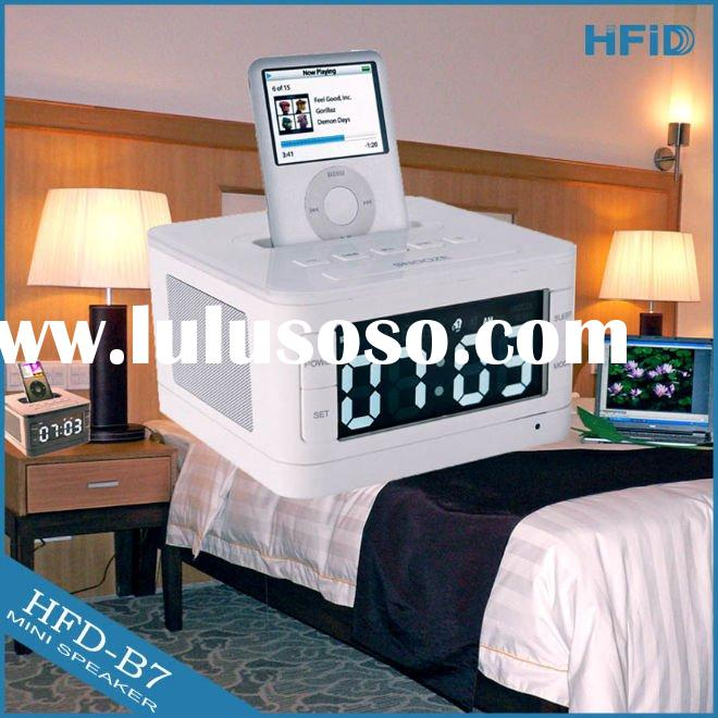 2011 hot sale 2.0 hotel speaker docking station for iphone 4 ipod with blue LED screen, alarm clock,