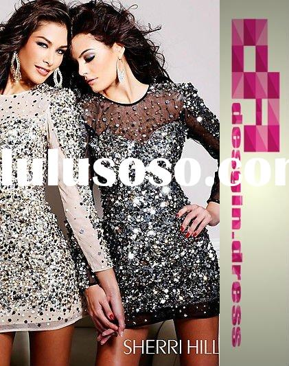 2011 short sequin illusion long sleeve sequin bead homecoming dress