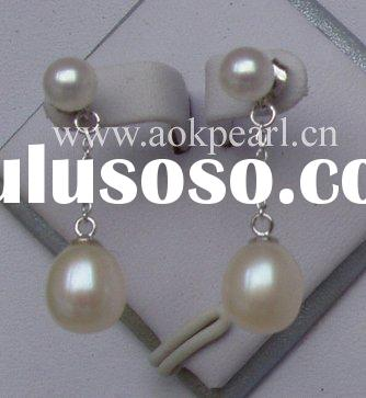 5-6mm and 8-9mm Tear Drop Pearl Earrings with 925 Silver Parts