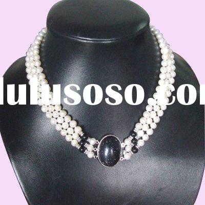 6MM Freshwater Pearl&Black Coral Beaded Jewelry Necklace 3 Row