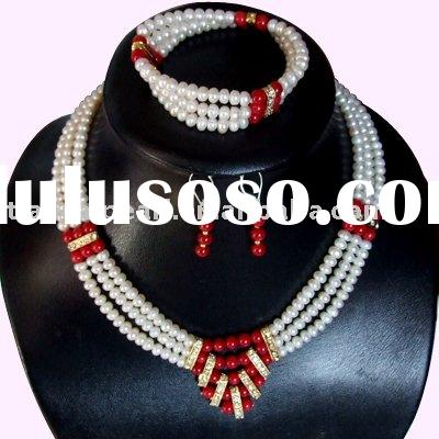 7-8mm freshwater pearl red coral beaded necklace new design