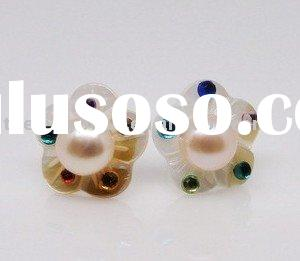 925 silver Chinese Cultured nature pearls shell,freshwater pearls fashion stud earrings jewelry