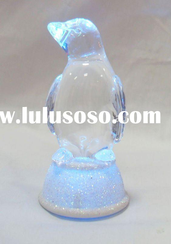 Acrylic penguin table decoration with LED