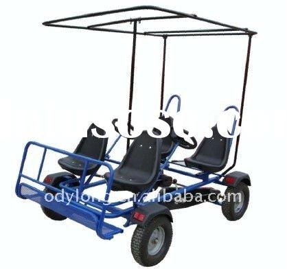 Adult pedal car 4 person,with 4 steering drive,reverse brake