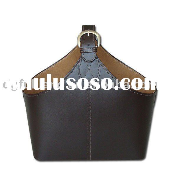 Brown Faux Leather Basket