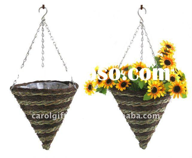 Brushwood and Green rope Cone hanging planter - hanging basket - Brushwood hanging flower pot