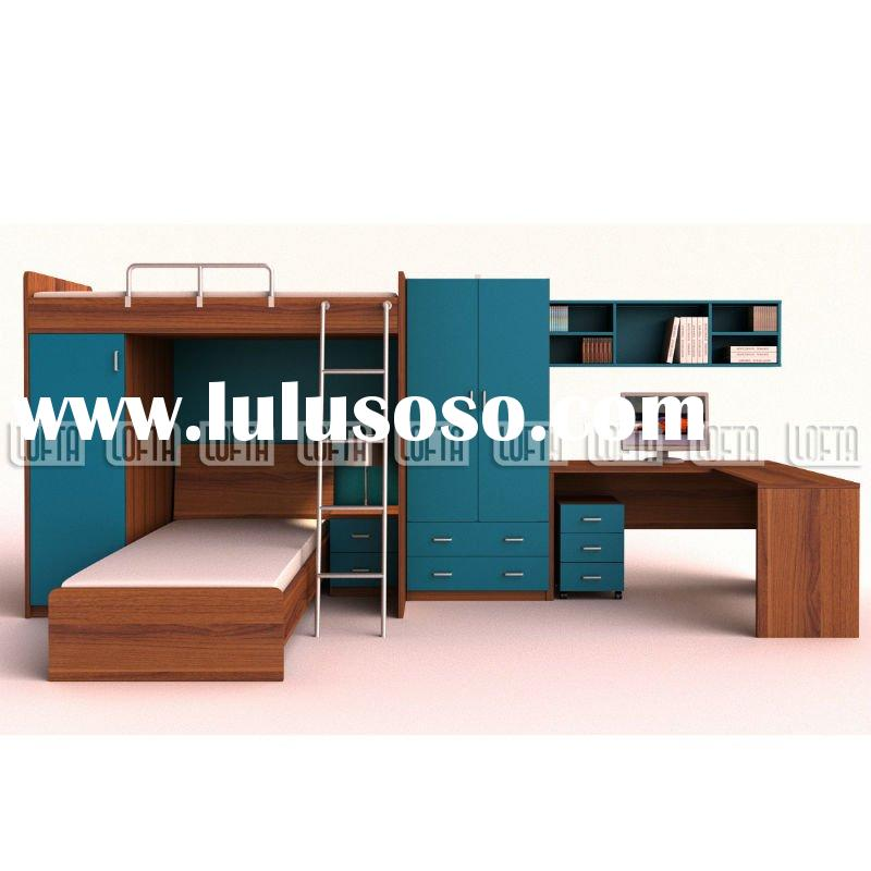Children bedroom furniture with kids bunk, trundle bed, two door wardrobe, computer desk and small c