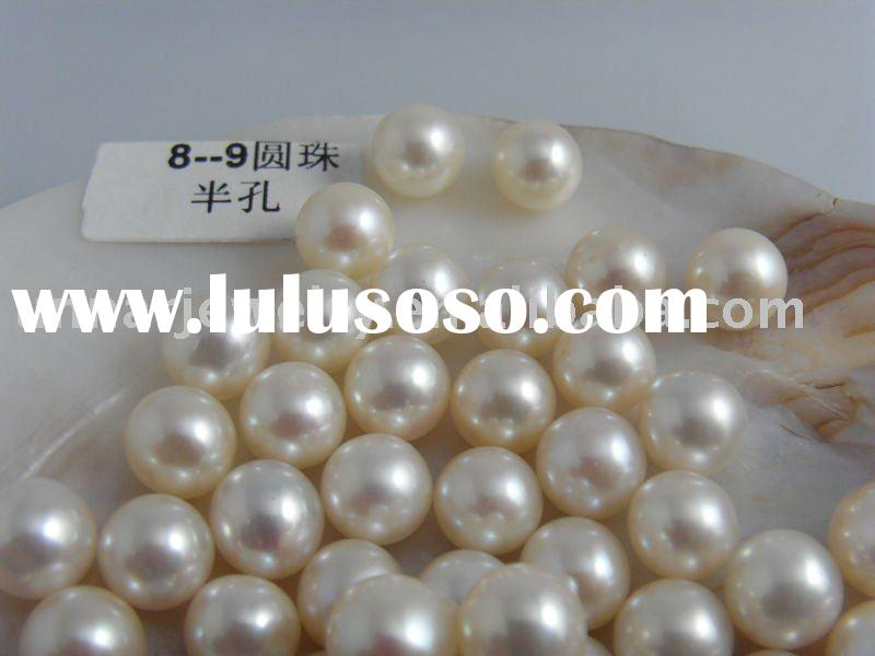 Chinese cultured freshwater white round loose pearl