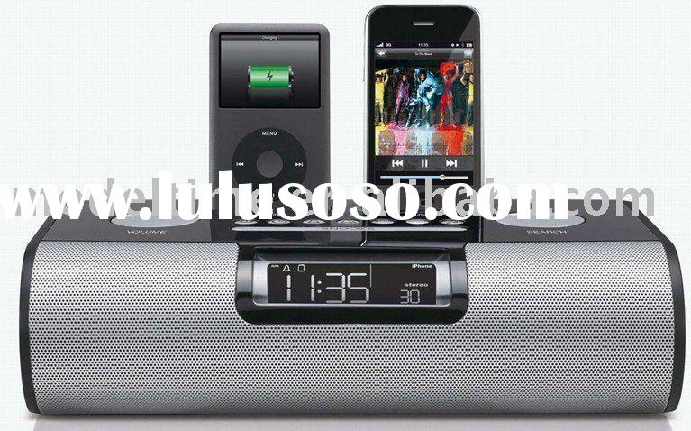 Dual dock alarm clock radio for iPod and iPhone