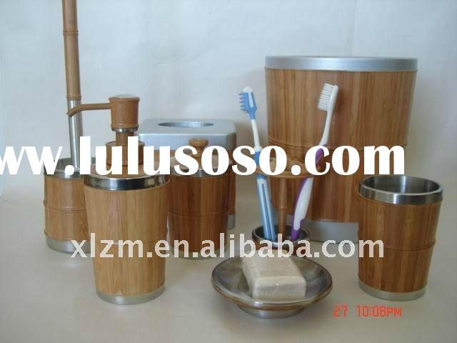 Eco -friedly & 8 Pcs bamboo joint bathroom accessories