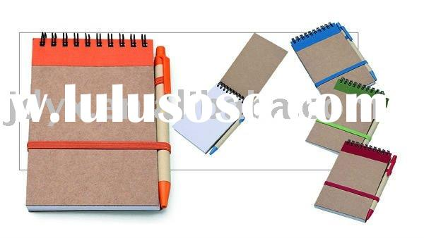 Environmental Protection stationery,Promotional Eco Paper Notebook Pen set,Promotional Recycled Pape