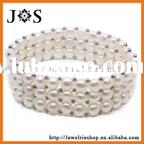 Fashion Jewelry 3 Rows White Freshwater Cultured Pearl Bracelet