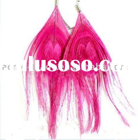Feather accessory ,long feather earrings