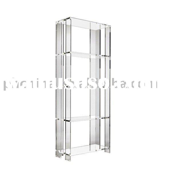 Free Standing Clear Acrylic Bookcase;Free Standing Clear Plexiglass Bookcase;Clear Lucite Bookcase
