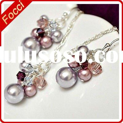 Freshwater Pearl and Crystal costume jewelry set