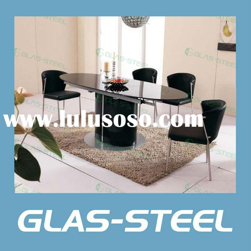 Home Furniture - Wood Base Tempered Glass Top Oval Dining Table WC-BT136