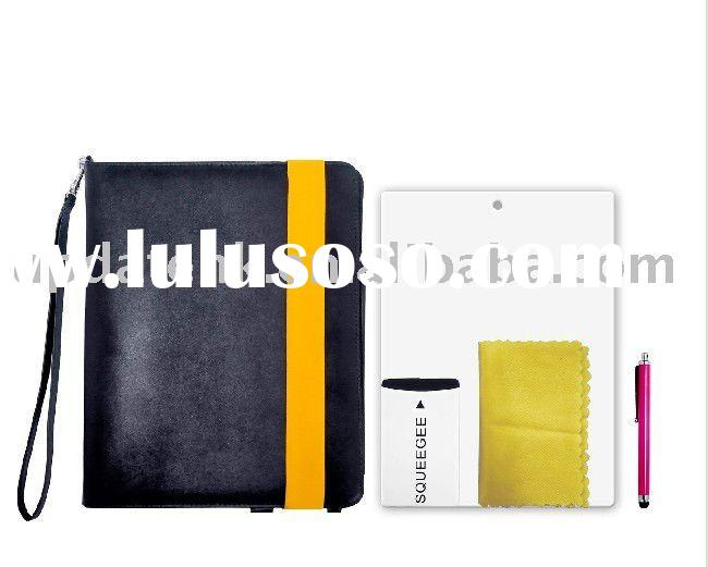 Ipad 2 leather case, Five accessories bundle kit, fashion design, lowest price