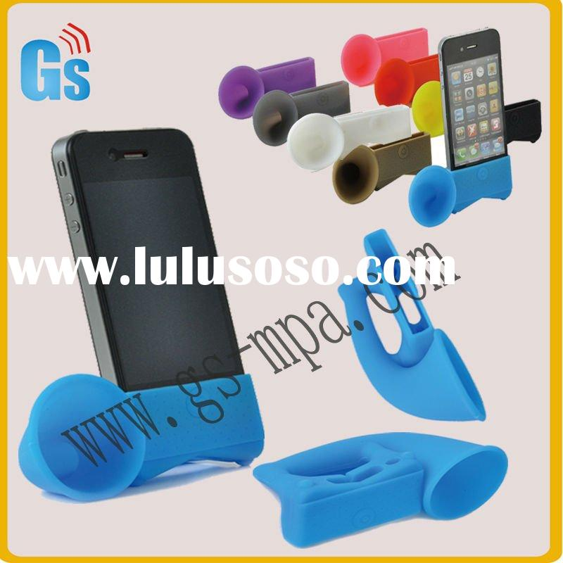 Mobilephone accessory for iPhone 4GS Colorful Cute Portable Silicone Horn Stand Amplifier Speaker