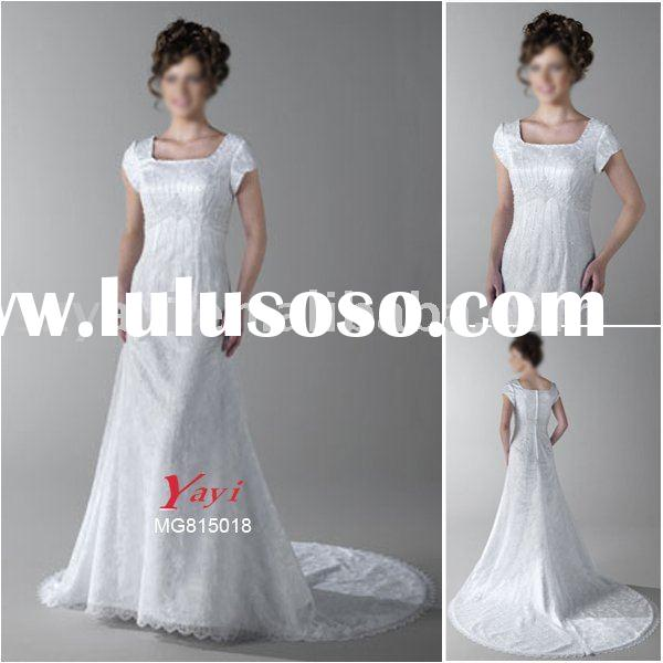New style lace with beading short sleeve mother apparel wedding dress gown MG815018