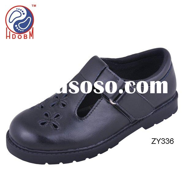 OEM children black action leather school shoes for girls