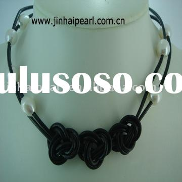 Pearl necklace (Size:11 pieces of 9-9.5mm white waterdrop pearls, with black leather,Quality:AA)