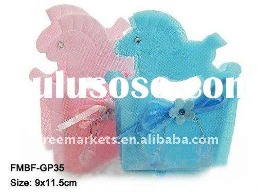 Pony Handle Bag Baby Favor Box,Nonwoven fabric pony candy package