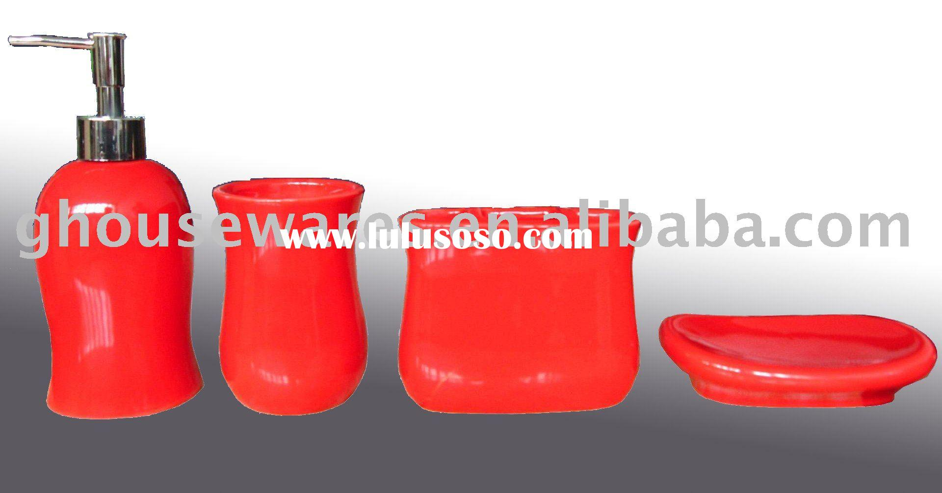 Red ceramic bathroom accessories